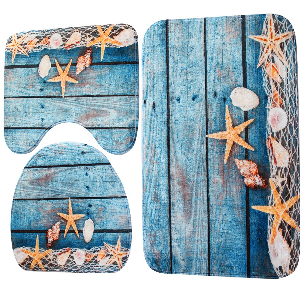 Demiawaking 3 Piece Bath Mat Sets Non Slip, Flannel Fabric Starfish and Shell Print Bathroom Sets Mats, Including Bath Mat, Pedestal Mat and Toilet Seat Cover