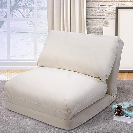 008cea20cdfe Amazon.com: Merax Fabric Folding Chaise Lounge Floor Gaming Sofa Chair  (Beige 3): Kitchen & Dining