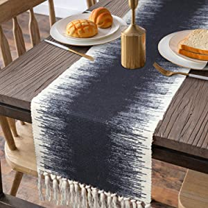 KIMODE Cotton Fringe Table Runner 14 X 72 in, Farmhouse Gradient Bohemian Woven Tassels Macrame Dinning Table Linen Machine Washable Minimalist Home Decorative (14 in x 72 in, Gradient)