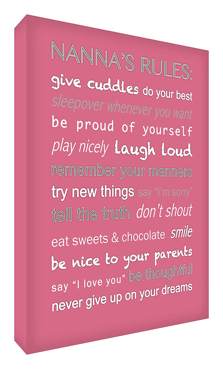 Feel Good Art Gallery Wrapped Modern Box Canvas with Solid Front Panel (30 x 20 x 4 cm, Lilac, Nanna's Rules Design) Nanna' s Rules Design) BC-NR128-16