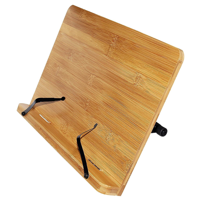 Kurtzy Leggio Ricettario in Bambù- Supporto Libro Ricette con 6 Altezze Regolabili - Supporto Perfetto per Libri, Annotazioni Musica- Supporto Libri misura 33.5 cm di larghezza e 24 cm di altezza- Ideale per lettura, guardare video