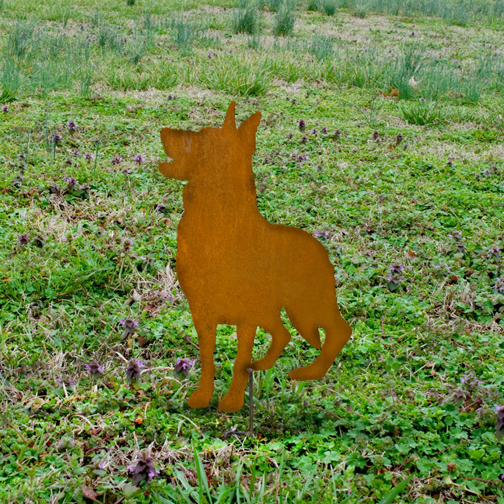 Metal german shepherd garden stake - handmade german shepherd - dog outdoor art - Rusty german shepherd marker - german shepherd memorial