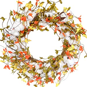 Idyllic 20 Inches Winter Leaves Wreath with Cotton, Beautiful Indoor Decoration