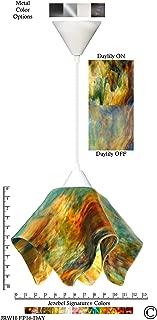 product image for Jezebel Signature Flame Pendant Large. Hardware: White. Glass: Daylily