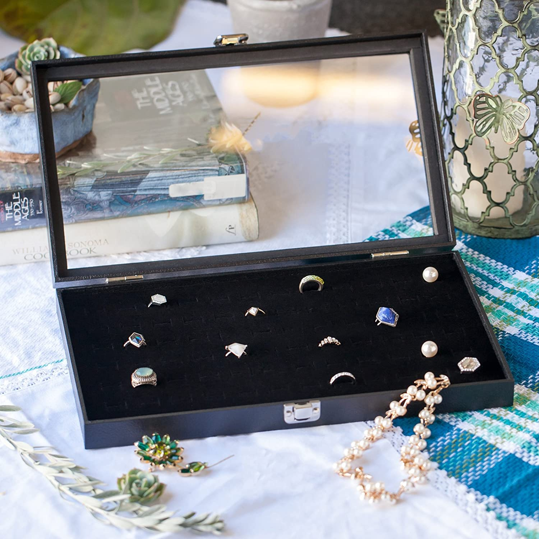 Amazoncom HUJI Glass Top Ring Display Showcase With Velvet Insert