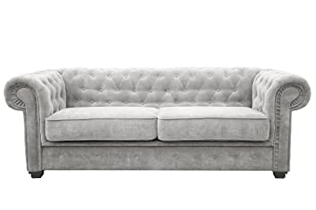 Chesterfield Style Sofa bed Venus 3 Seater 2 Seater Fabric Light Grey  Settee (2seater, Light Grey)