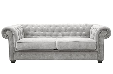 Pleasant Chesterfield Style Sofa Bed Venus 3 Seater 2 Seater Fabric Light Grey Settee 2Seater Light Grey Ocoug Best Dining Table And Chair Ideas Images Ocougorg