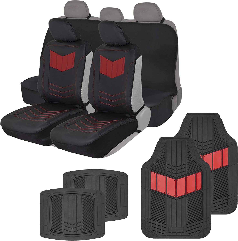 Motor Trend COMBO304 Red ComfortPlush Vegan Leather Sideless (Front 2pc) Waterproof Bench Seat Cover (Rear 1pc) & Heavy-Duty Floor 4pc Mat Car Auto (Sedan Truck SUV Minivan) Full Set Combo