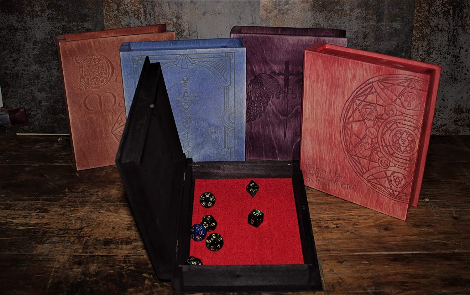 Fandomonium Book Effect Dice Box Tabletop Gaming DND Storage Box Choice of Colours And Designs Dice Tray Dungeons and Dragons Red, Book Of Alchemy RPG