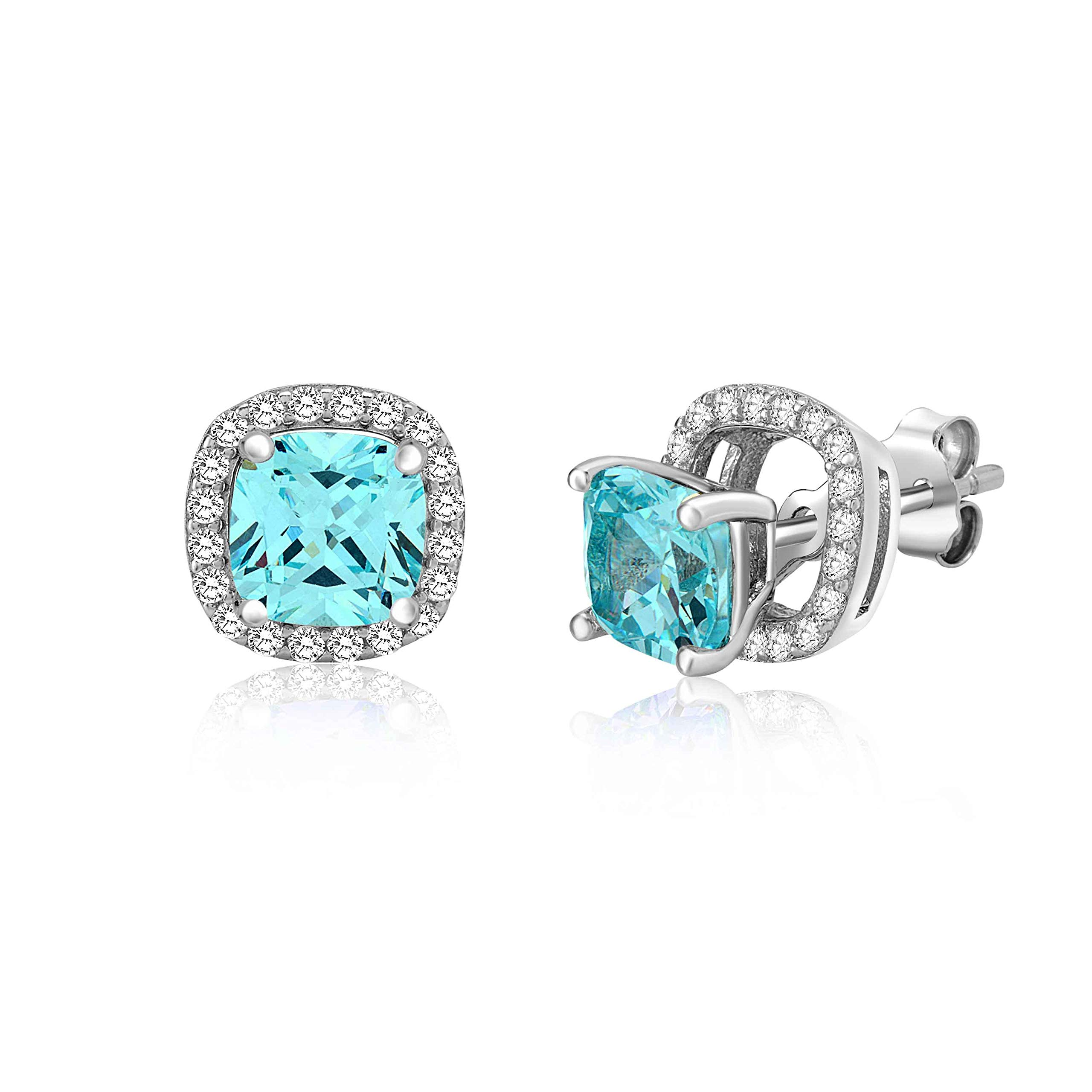 MASSETE Sterling Silver 925 Simulated Aquamarine Rounded Square Halo Stud Post Earrings with Removeable Jacket by Massete