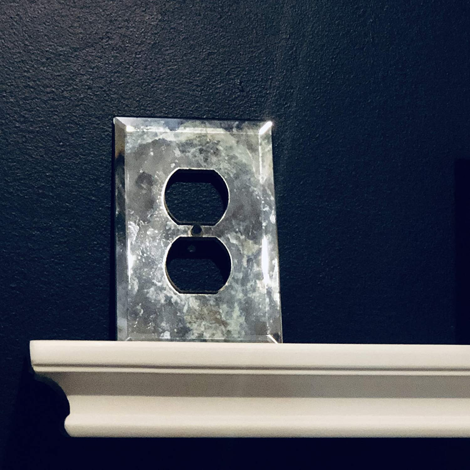 Decorative Antiqued Mirror Beveled Glass Outlet Cover
