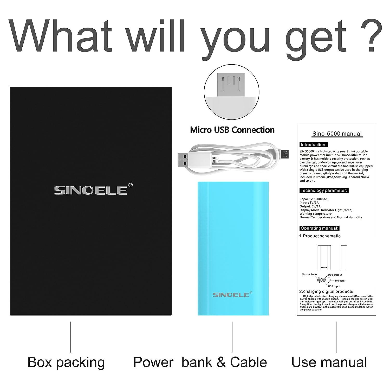 5000mAh Cell Phone Battery Backup Portable Power Bank Battery USB ...
