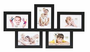Deknudt Frames S65SY2 Cadre Multi Photos Bois Noir 5 X (10 X 15) Cm