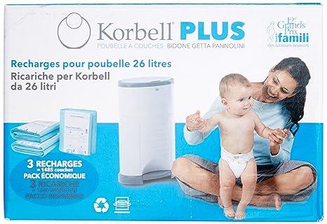 Korbell - Recambios para cubo de pañales (tamaño grande, 25 bolsas, capacidad para 886 pañales pequeños o 526 grandes)