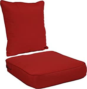 Sunnydaze Back and Seat Cushion Set for Indoor/Outdoor Furniture - 2-Piece Replacement Cushions for Deep Seating Patio Chair - Outside Pads for Porch, Deck and Garden Seats - Red
