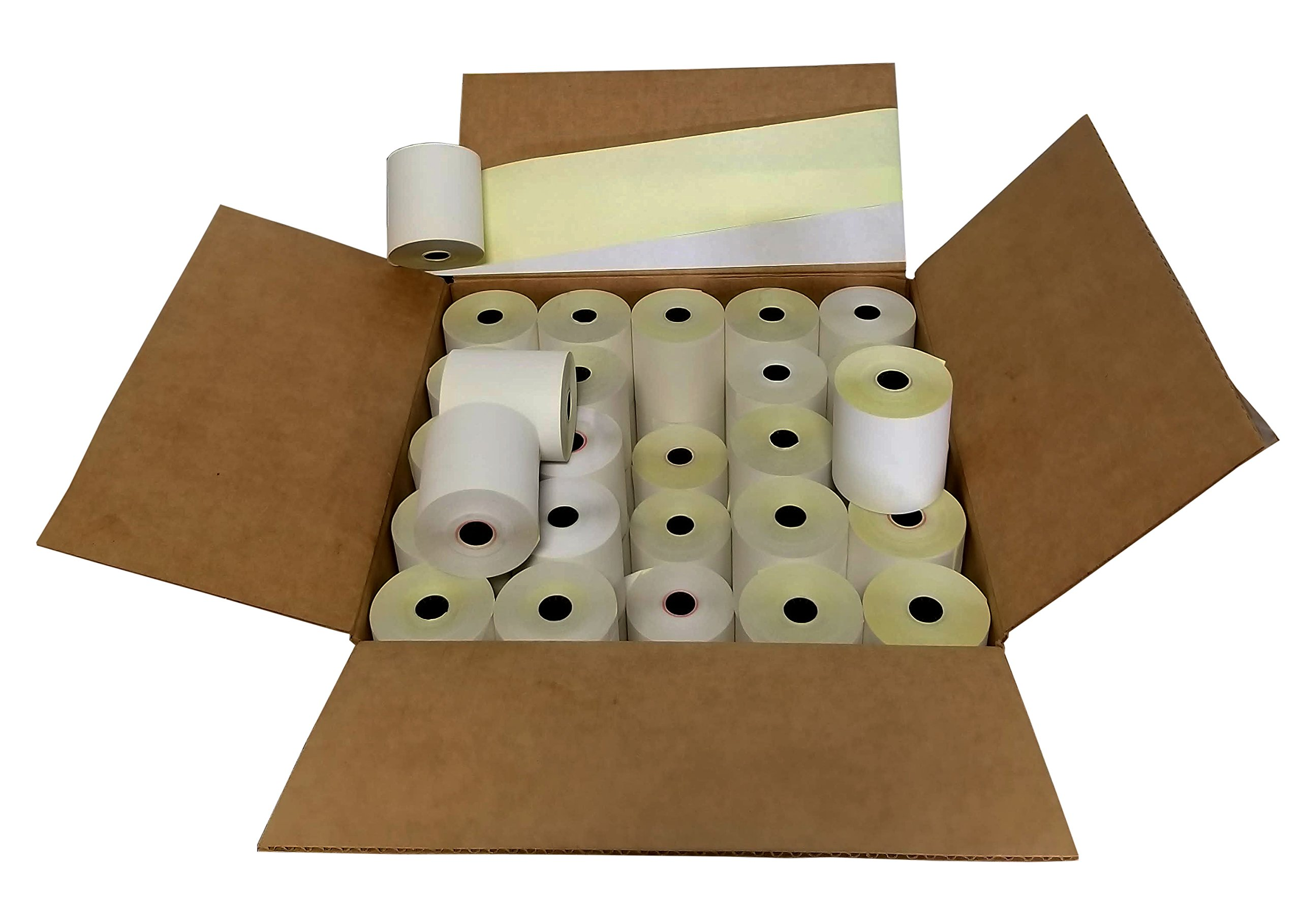 3'' x 95' 2 Ply White/Canary Paper Rolls for TM-U220A TM-U220B TM-U220D TM-U230