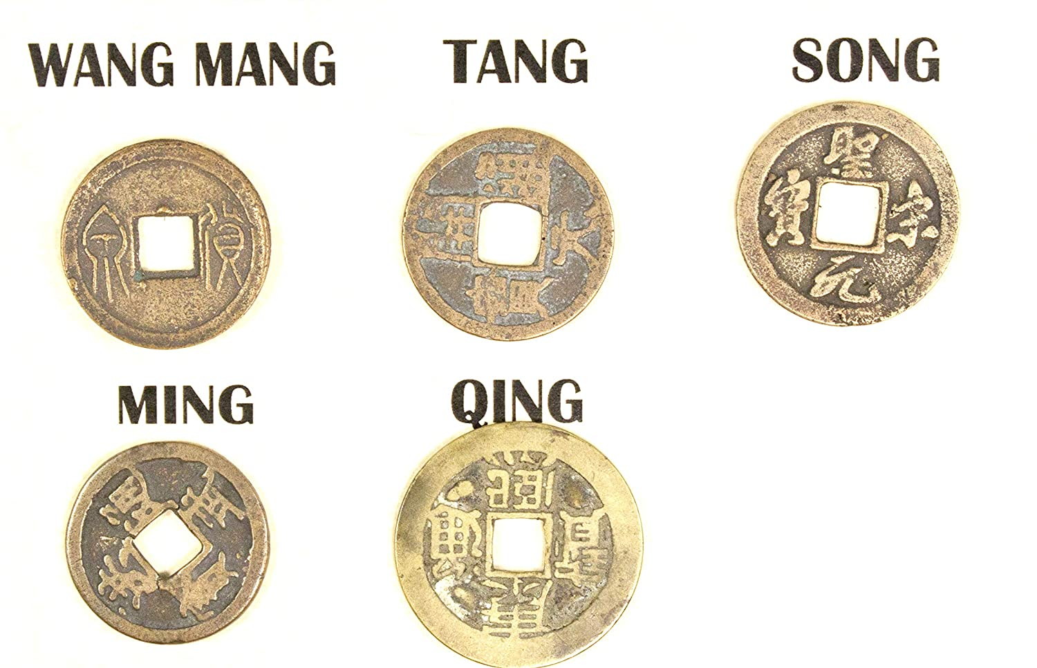 5 DYNASTY 5 Ancient Chinese CASH Coins With Story,Album /& Certificate