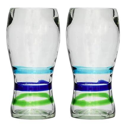 Vaso Cervecero (Pinta) Artesanal – Vidrio Reciclado – 3 anillos – Juego de 2
