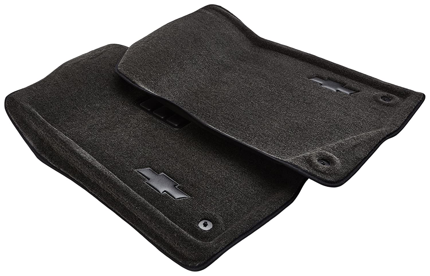 GM Accessories 17800401 Front Carpeted Floor Mats in Ebony with Bowtie Logo