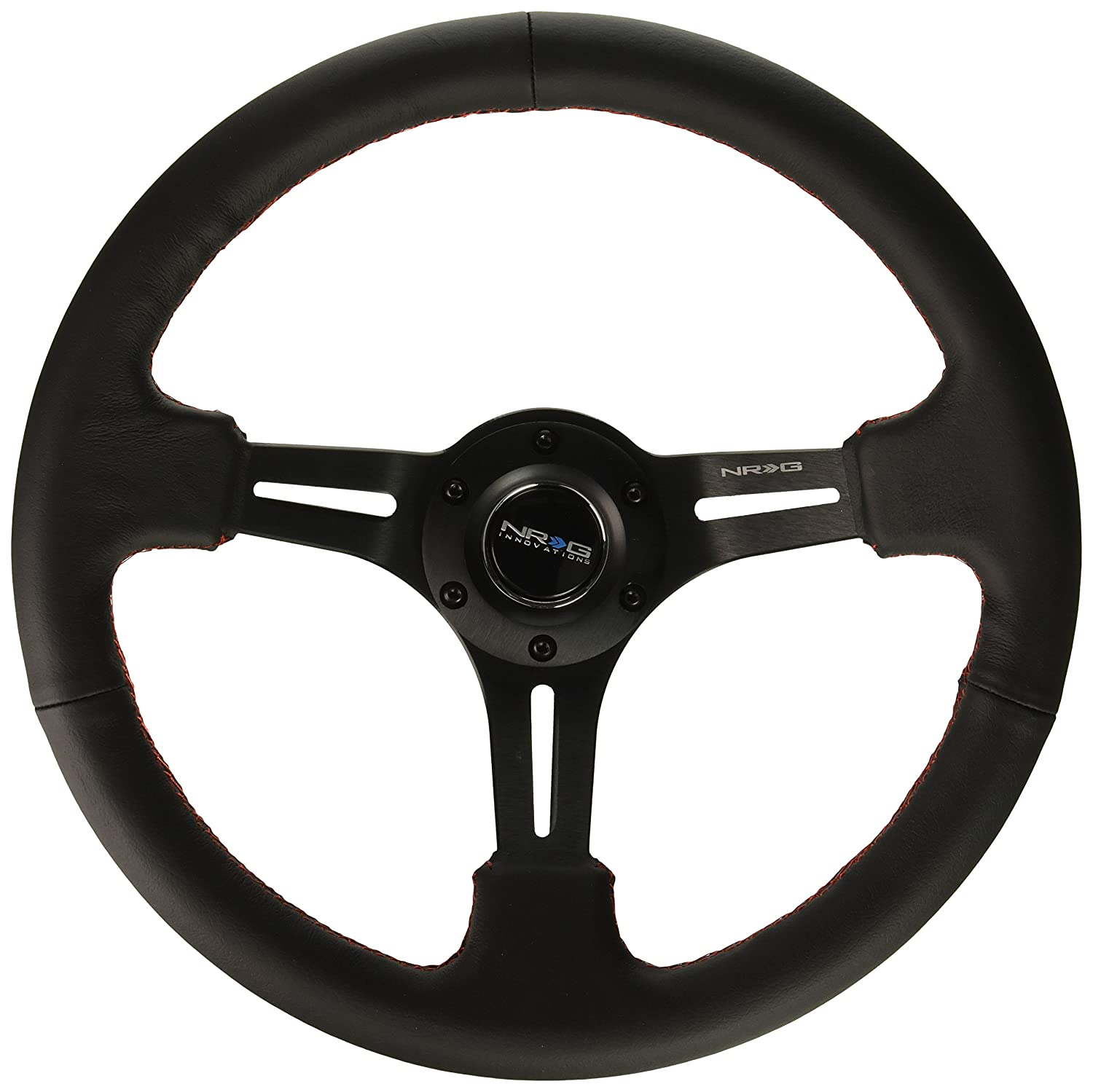 350mm Sport Steering Wheel Black Leather with Red Stitching 3 Deep NRG Innovations RST-018R-RS Reinforced Steering Wheel