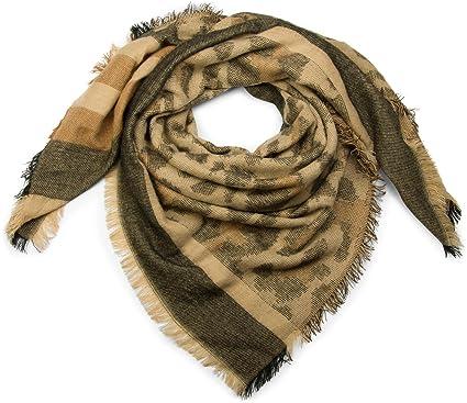 8bb17fb55b2a styleBREAKER foulard XXL avec rayures et motif camouflage, franges, châle  pour l hiver, tissu, unisexe 01018148, couleur Beige-brun-noir  Amazon.fr   ...