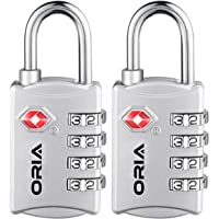 ORIA Luggage Lock, Travel Lock, TSA Approved Luggage Locks, 4 Digit Travel Combination Lock, Safe Padlock for Suitcases, Baggage, Backpacks, Small Cabinets, Briefcases, Computer Bags (Silver, 2 Pack)