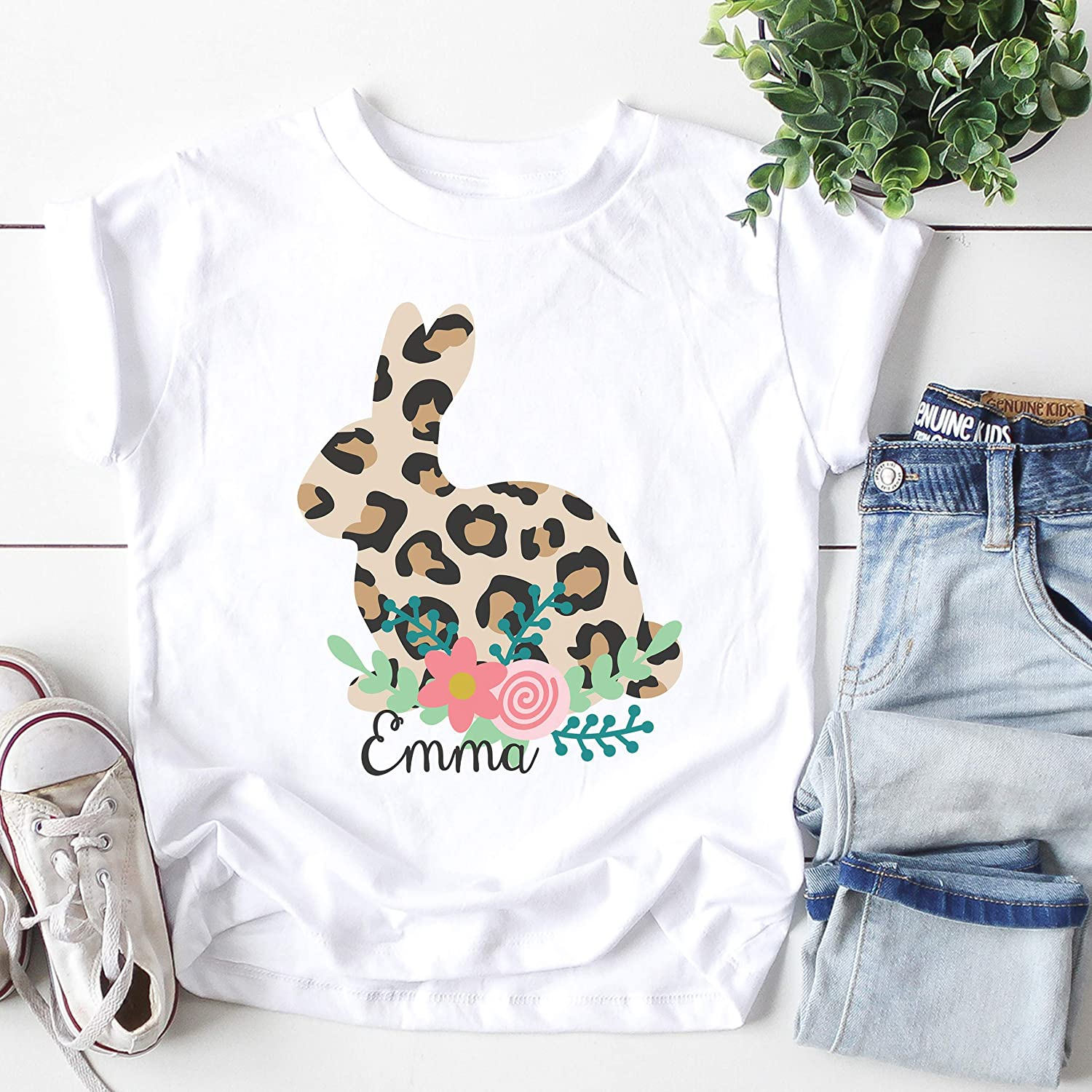 Girls Leopard and Pastel Bunnies Custom Shirt Easter Embroidered Personalized Name Top 1st Easter Glitter Bunnies Puff Sleeve Shirt