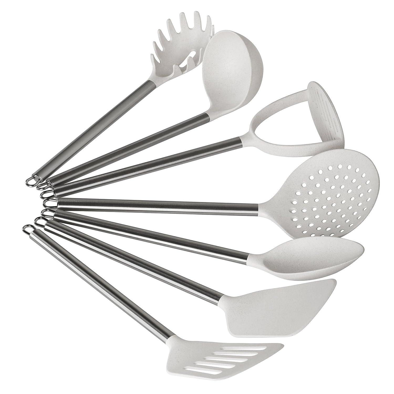 TOPHOME fibra della paglia del Utensili da cucina e acciaio inox posate titolare 9 robusti utensili da cucinapezzi schiumaiola cucchiaio spatola mestolo pinza da servizio masher e porta utensili