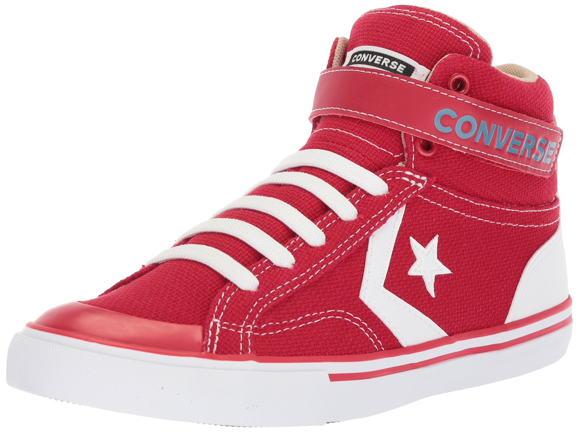 Converse Boys' Pro Blaze Summer Sport Canvas High Top Sneaker, Gym Red/Vintage Khaki/White, 6 M US Toddler