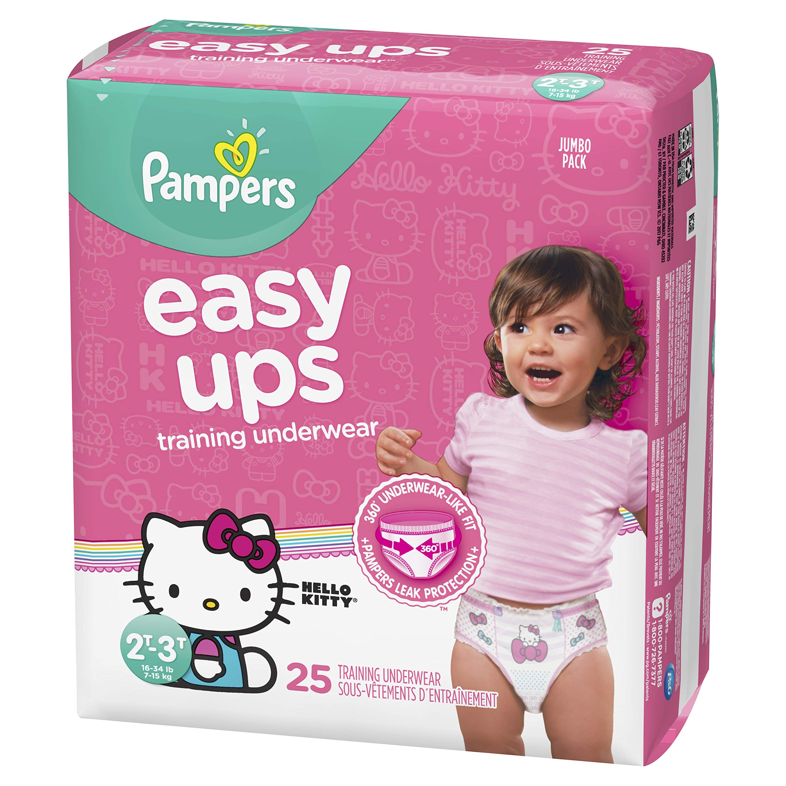 Pampers Easy Ups Pull On Disposable Training Diaper for Girls, Size 4 (2T-3T), Jumbo Pack, 25 Count