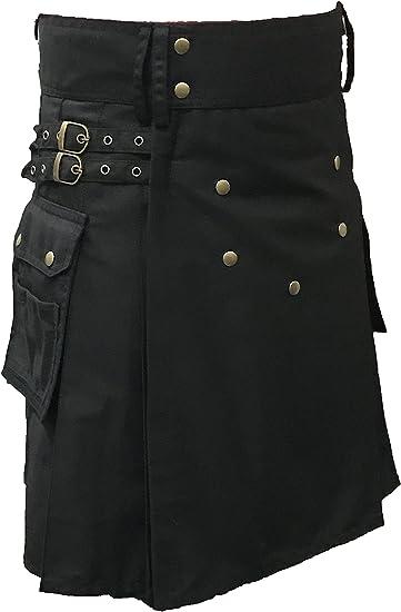New Deluxe Black UTILITY FASHION KILT Cargo Pockets 100/% Cotton ALL SIZES