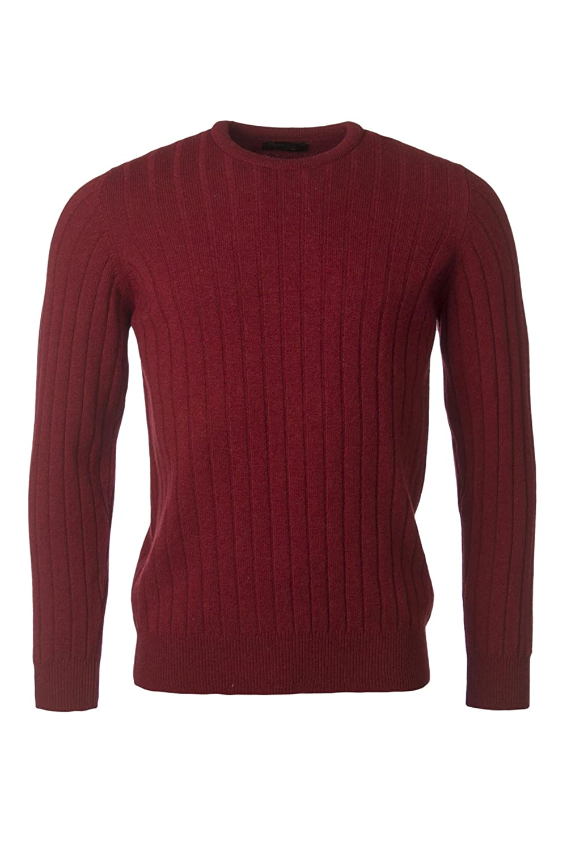 Hawick Knitwear Men's 100% Lambswool Broad Rib Crew Neck Pullover