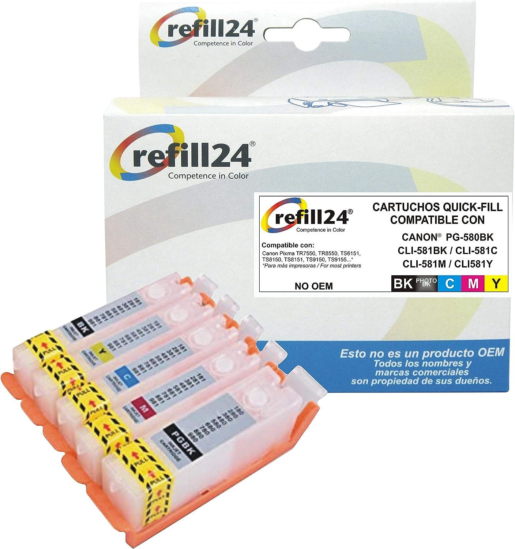refill24 Cartuchos Recargables,Compatible para Canon PGI-580 XXL CLI-581 XXL
