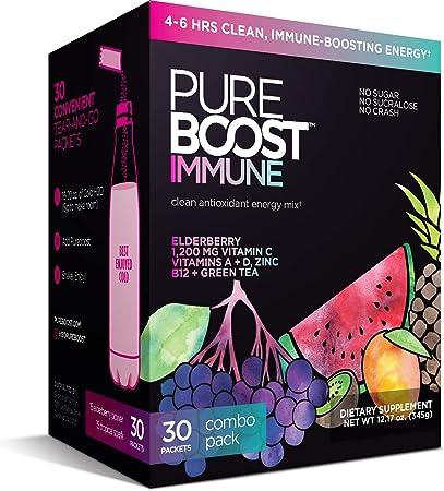 Pureboost Immune Clean Energy Drink Mix: Immunity Supplement with Elderberry, 1200 mg Vitamin C, Vitamins A + D, Zinc., 28 Vitamins, Minerals and Supernutrients (Combo 30 Count)