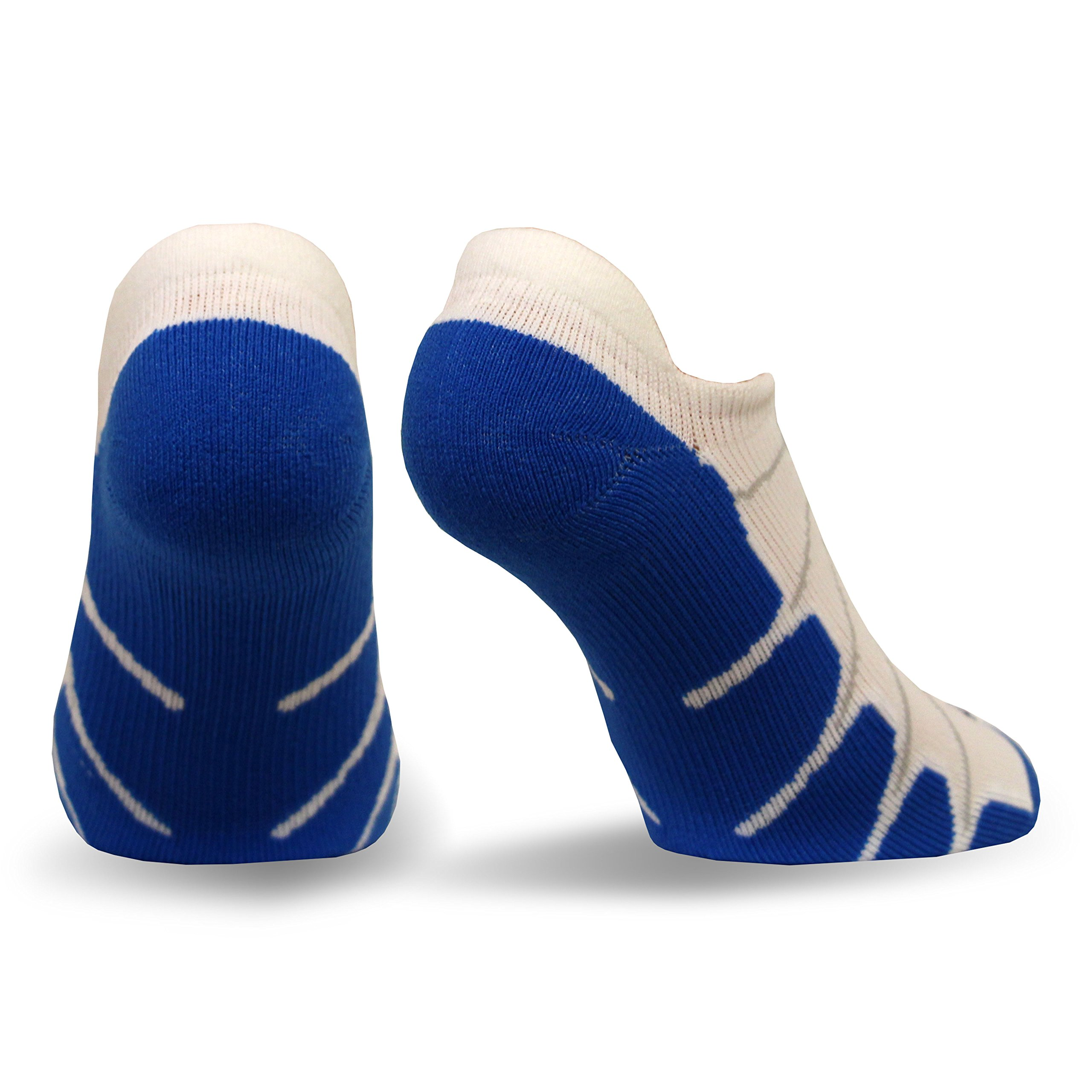 Sox Italy No Show Ghost Socks - Silver Drystat Plantar Support Performance Socks - White/Royal, Small - SS6011 by Sox