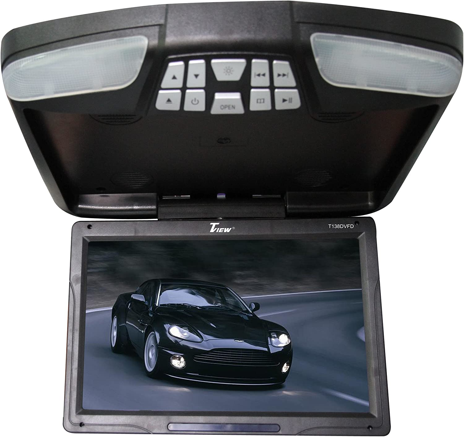 Gray 13inch Car Ceiling Monitor Flip Down Roof Mount Digital Wide Screen Monitor