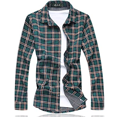 Bikinmoon Plaid shirt camisetas Long shirt men Cotton+Polyester Fashion Floral mens shirts NEW spring