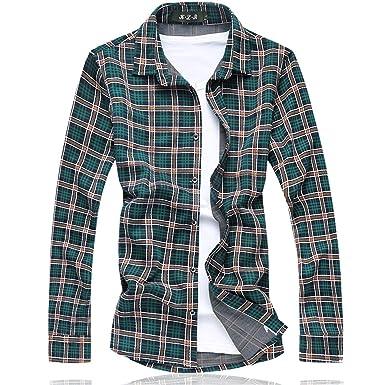 8ba0f562e7e5a Shining4U Plaid shirt camisetas Long shirt men Cotton+Polyester Fashion  Floral mens shirts NEW spring Plus size M-7XL at Amazon Men s Clothing  store