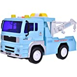 Tow Truck Toys Friction Powered Truck Vehicle for Kids with Lights and Sound, 4 Wheels and 2 Removable Hooks, 1:20 Advanced Simulation Model-Road Administration Series, Blue and White