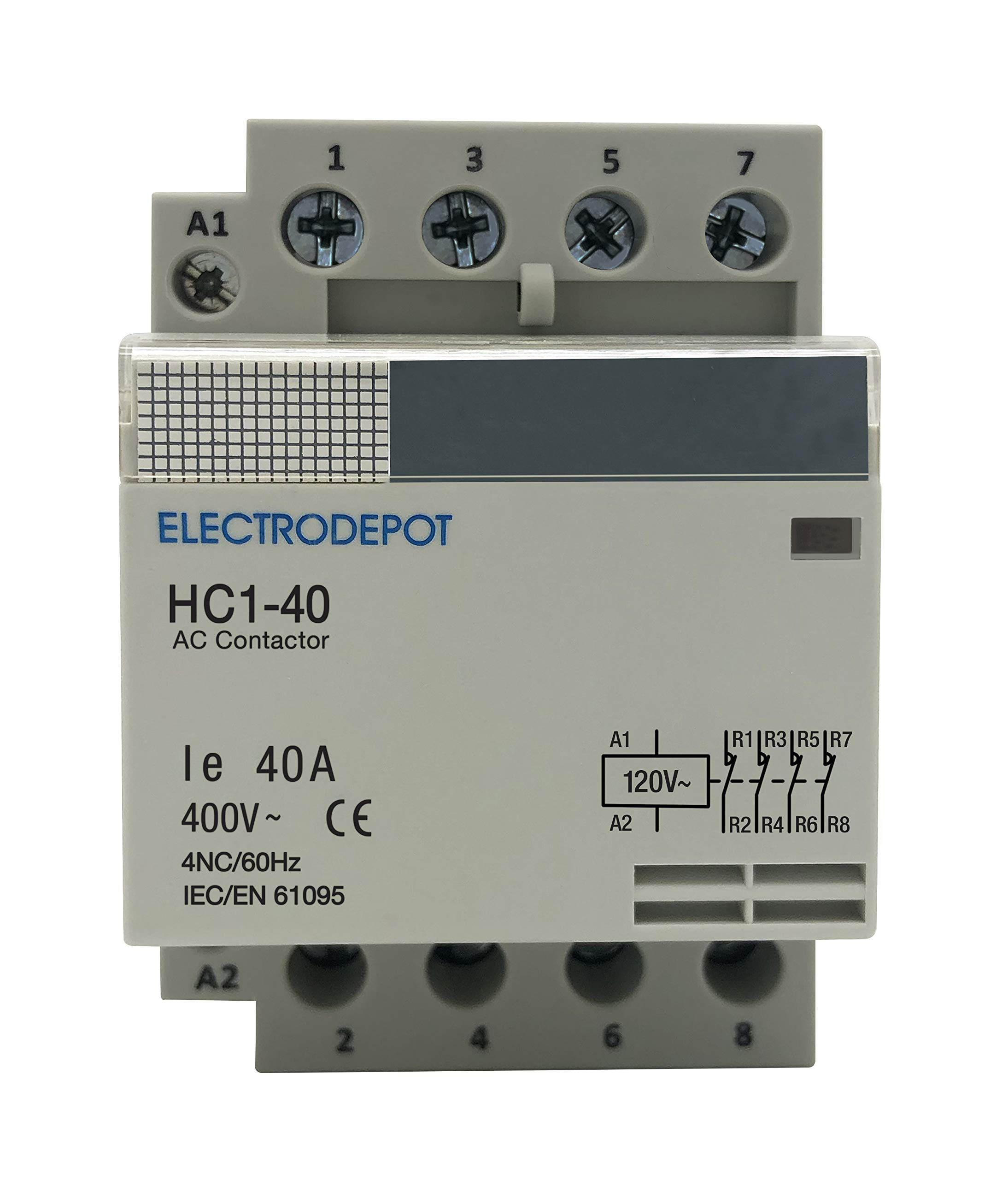 Electrodepot 40 Amp 4 Pole Normally Closed IEC 400V Contactor (Silent Operation) – 110/120VAC Coil, Inductive 20A, Resistive 40A with Mounting Base for DIN Rail