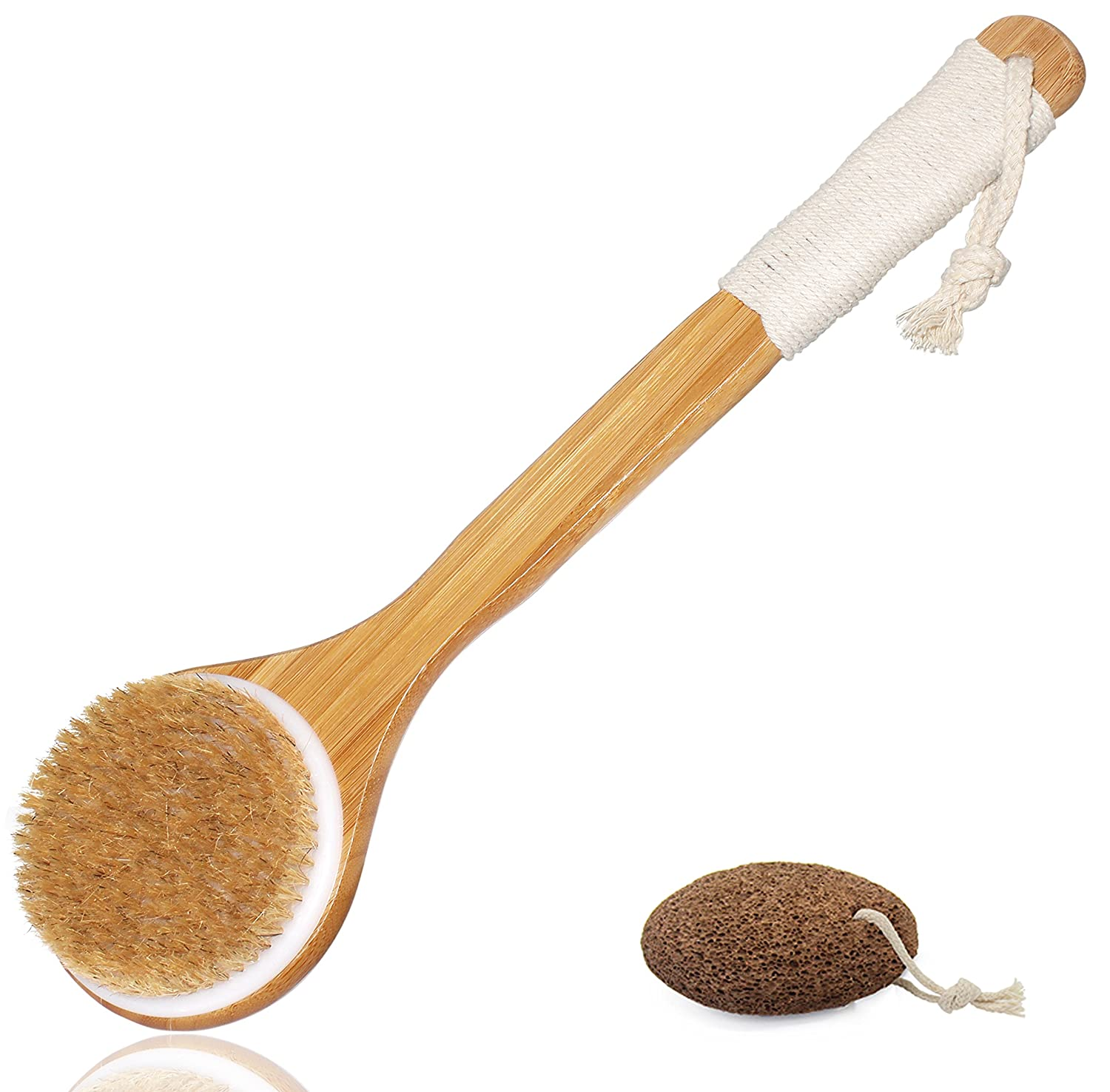 Esup Body Brush Dry Brush Back Scrubber Bath Brush with Long Bamboo Handle for Cellulite and Exfoliating