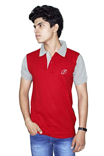 160a1ada0a788e JigarZee Red Polo T-Shirt for Men | Solid T-Shirt | Men's Polo | Half  Sleeves | Semi-Formal Look | Neck & Sleeves Contrast Color | Plain T-Shirt  | Plain ...
