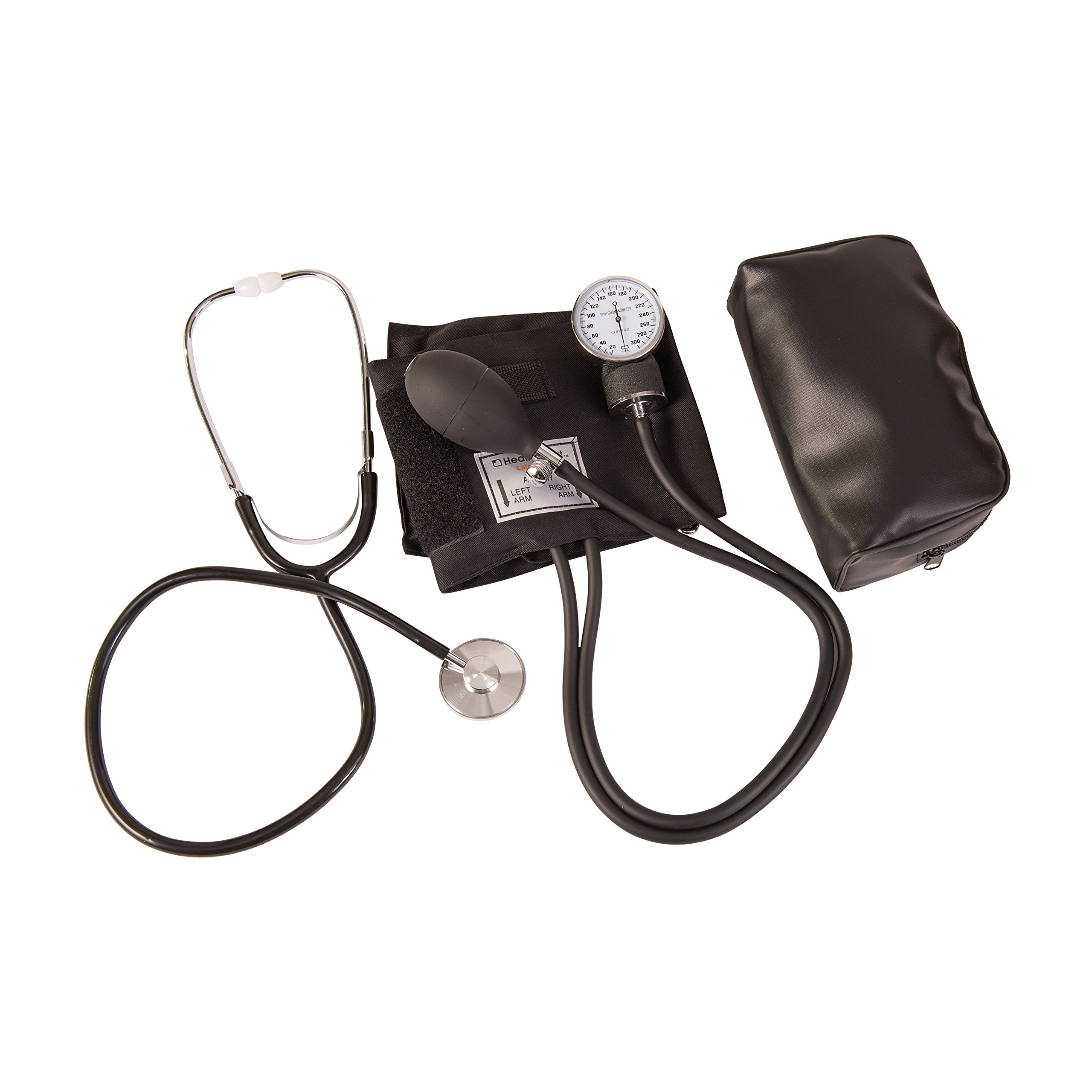 HealthSmart Professional Aneroid Sphygmomanometer Blood Pressure Gauge, Stethoscope and Carrying Case, Adult Cuff, Reliable and Accurate, Black