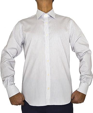 E. MECCI Camisa para Hombre 100% algodón No Iron Rayas Azul Claro Regular Fit Manga Larga: Amazon.es: Ropa y accesorios