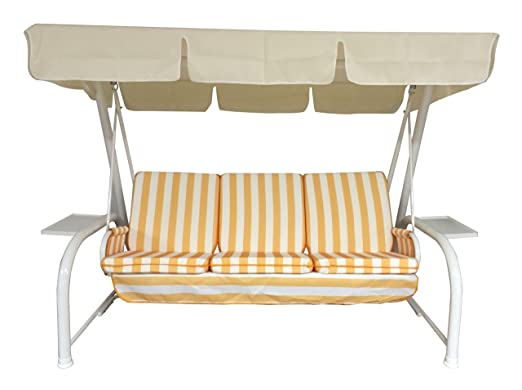 51 opinioni per Neffy Shop Set di cuscini e tetto di ricambio per dondolo, 4 Posti, Giallo/Ecrù