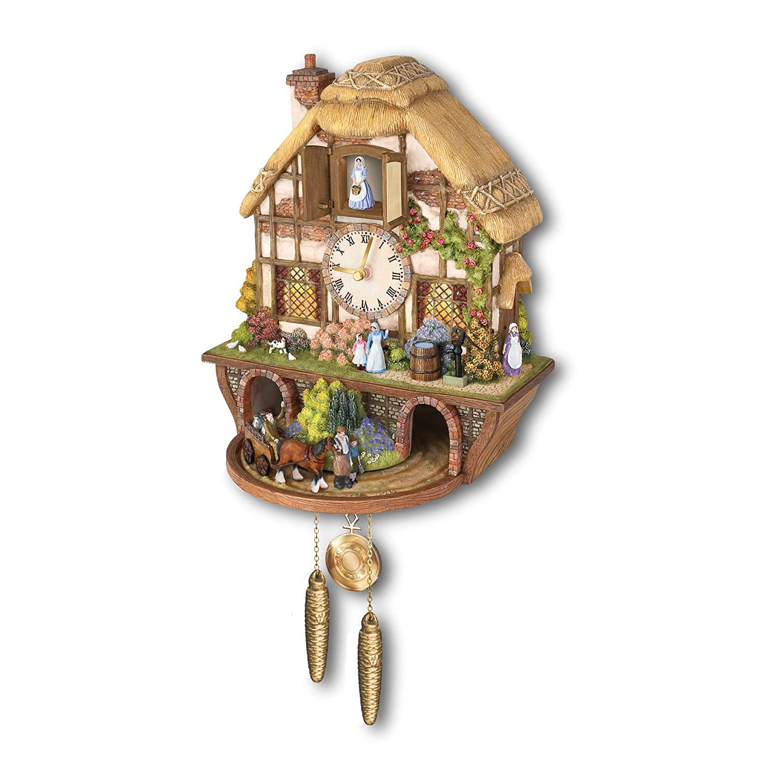 The Bradford Exchange Country Days Cuckoo Clock features a Tranquil English Country Scene from A Bygone Era. 426B394301U