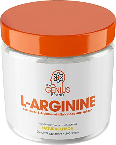 Genius L Arginine Powder – Fermented L-Arginine Nitric Oxide Supplement, Natural Muscle Builder NO Booster for Healthy Blood Pressure, Protein Synthesis and Strength Building, Lemon, 30 Sv