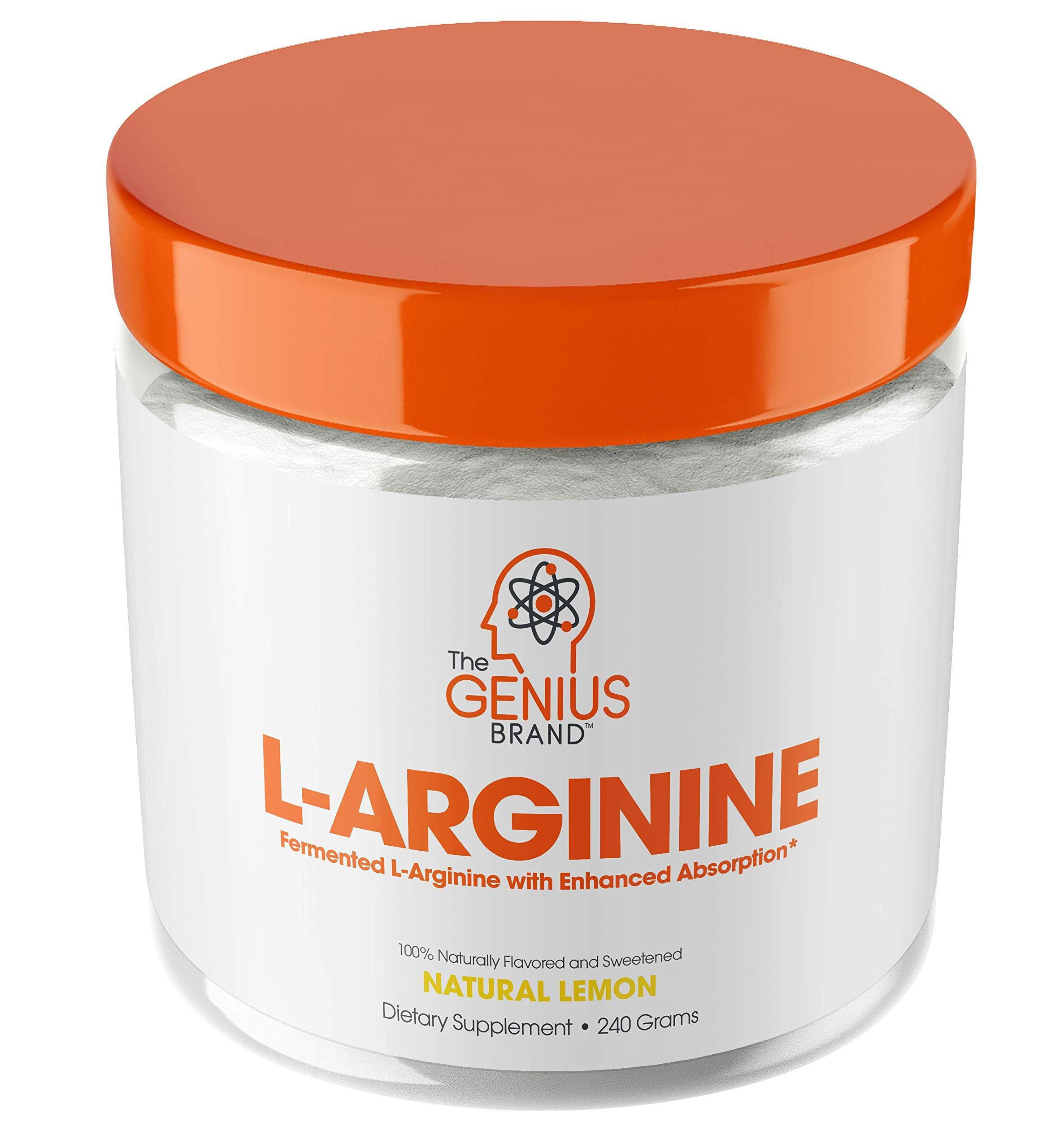 Genius L Arginine Powder - Fermented L-Arginine Nitric Oxide Supplement, Natural Muscle Builder & NO Booster for Healthy Blood Pressure, Protein Synthesis and Strength Building, Lemon, 30 Sv