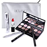 DE'LANCI Perfect Makeup Set Cosmetic Kit- Eyeshadow Palette, Mascara,Liquid Eyeliner Pencil, Eyebrow Pencil, Lipstick & Lip Brush - Leather Cosmetic Bag - Gift Set