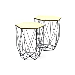THE HOME DECO FACTORY Lot de 2 Tables Gigogne Filaire, Mdf/Métal, 40,2 x 40,2 x 45,5 cm